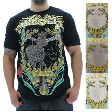 Christian Audigier Skull Rose Men's T-Shirt Rhinestone Tee