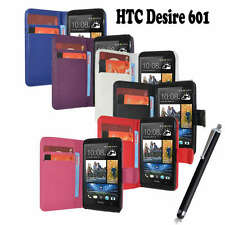 Side Opening Pu Leather Wallet Flip Case Cover For HTC Desire 601   Free Stylus
