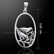 Beautiful Silver Pendant featuriing Pair of Birds perched on a branch