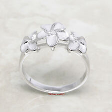 Hawaiian Jewelry Three Plumeria Flowers Band Ring Made of Sterling Silver 925