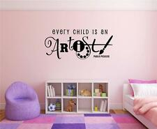 Every Child Is An Artist Picasso Vinyl Decal Wall Stickers Words Letter Playroom
