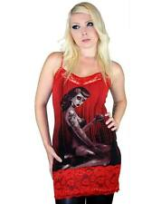 Too Fast Vintage Zombie Pin Up Horror Red Lace Camille Sleeveless Cami Vest Top