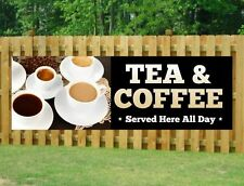TEA & COFFEE PVC Printed Banner Outdoor/Indoor Catering Sign Restaurant Eyelets