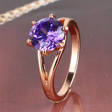 Smart style  Real gold filled round blue sapphire romantic ring Sz5-Sz9