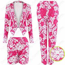 LADIES PINK FLORAL PRINT BLAZER SHORTS TROUSERS SUIT WOMEN JACKET TOP PANTS SET