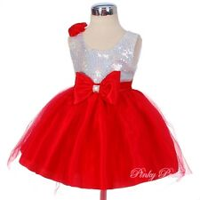 Sequined Red Wedding Flower Girl Birthday Tulle Dress Up Baby Age 9m-4y FG280