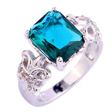 Chic Jewelry Emerald Cut Green Sapphire Gemstones Silver Ring Size 6 7 8 9 10 11
