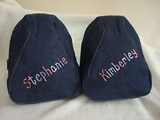 Personalised Denim Oval Backpack School Bag Selected Names Only