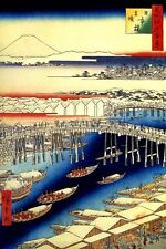 NIHONBASHI CLEARING AFTER SNOW BRIDGE RIVER JAPANESE PRINT BY HIROSHIGE REPRO