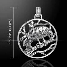 Perching RAVEN Wiccan Pagan Sterling Silver Pendant
