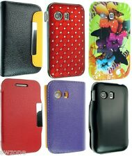 FOR SAMSUNG GALAXY Y S5360 FLORAL CHROME DIAMOND LEATHER CASE COVER POUCH FLIP