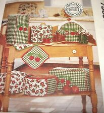 95 MCCALL'S PATTERN 7568 HOME DECORATING KITCHEN APPLIANCE COVERS