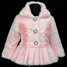 Pink p109 s7 UkG Winter Autumn Faux Fur Birthday Party Girls Coat/Jacket 2,3-7y