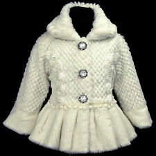 Cream/Beige/Ivory i216 k4 UkG Summer Holiday Party Faux Fur Girls Coat 2,3,4-7y