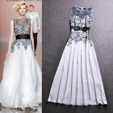 2014 Women High Quality Embroidery Lace White Long Dress Fairy Evening Dresses