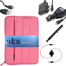 Pink Soft Padded Nylon Sleeve Case Bundle + Micro USB for 8.9 - 10 inch Tablets