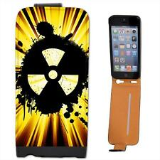 Grunge Nuke Yellow Black Leather Flip Case for Apple iPhone 5s