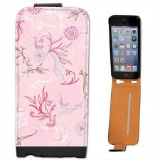 Elegant Pink Bird Leather Flip Case for Apple iPhone 5s