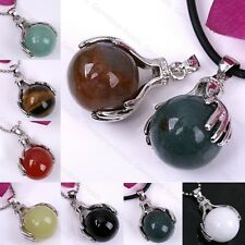 Hands Palm Ball Agate Jade Gemstone Beads Dangle Pendant For Necklace Charm Gift