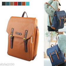 NEW Unisex Backpack Satchel Book Bags Casual School Bag Faux Leather