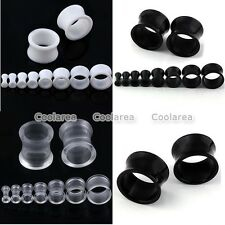PAIR Pick Gauge Double Flared Acrylic Hollow Ear Plugs Tunnels Flesh Earlets