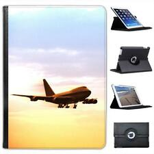 Airplane in Flight at Dusk Folio Wallet Leather Case For iPad Air