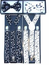 New SUSPENDER & BOW TIE Music Note Matching Colors COMBO SET  US SELLER