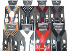 New Mens Womens Leather Clip-on Suspenders Elastic Y-Shape Adjustable Braces