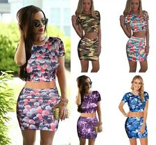 Celeb Inspired Bandage Printed 2PCS Crop Top + Skirt Bodycon Midi Dress @TBS5001