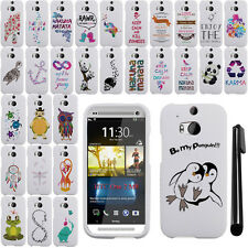 For HTC One 2 M8 Art Design Image PATTERN HARD Case Phone Cover Accessory + Pen