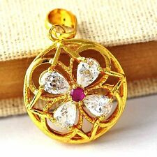 Clear/ CZ / Red Ruby Or Black Onyx Clover Yellow GF Womens Pendant A1791-A1792