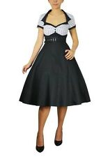 BLACK WHITE POLKA DOT FLAIR DRESS RETRO BELTED VINTAGE 50s STYLE PINUP