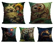 Cute Cartoon Animal Owl Cushion Cover Cotton Linen Throw Pillow Case Home Decor