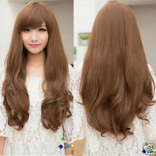 Hot New Fashion womens brown full wigs long curly wavy long hair party 3 colors