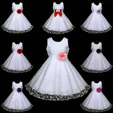 w468 UsaG w5 X'mas Halloween Pink White Wedding Party Flower Girls Dress 2-12y