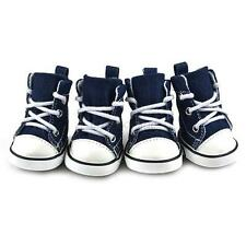 BLUE Puppy Pet Dog Denim Shoes Sport Casual Anti-slip Boots Sneaker Shoes 4PCS
