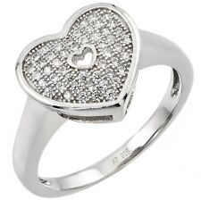 Sterling Silver Clear CZ Promise Valentine's Forever Love Heart Ring Sizes 3-11
