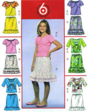 Girls Knit Shrug Sleeveless Tank Top Skirt Sewing Pattern Ruffles Scoop 5038