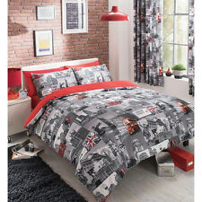 London City Vintage Duvet Quilt Cover – Grey & Red Bedding Bed Set + Pillow Case