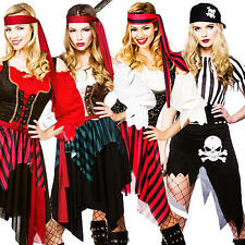 Caribbean Pirate Ladies Fancy Dress Captain Buccaneer Womens Costume Outfit New