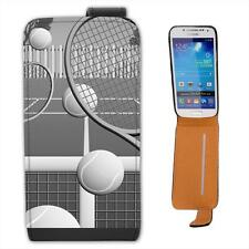 Black & White Tennis Court with Balls & Rackets Leather Case for Samsung S4 Mini