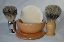 Badger Shaving Brush, Coconut Shaving Soap, Wood Shaving Bowl Trumper Razor