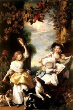 THE DAUGHTERS OF GEORGE III CHILDREN DOGS BIRDS PAINTING BY JOHN COPLEY REPRO