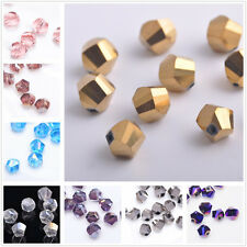 20/100pcs Faceted Glass Crystal Charm Finding Helix/Twist Loose Spacer Beads 6mm