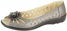Boulevard - Ladies Open Toe High Comfort SHOES, Flats, Sandals - PEWTER