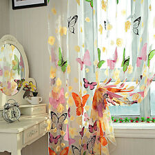 1 PC Butterfly Print Sheer Window Door Panel Curtains Room Divider Tulle Scarfs