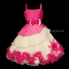 NEW Flower Girl Wedding Pageant Party Bridesmaid Dress Wears Fuchsia SZ 4-9 Q429
