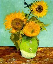 SUNFLOWERS FLOWER 1888 IMPRESSIONIST PAINTING BY VINCENT VAN GOGH REPRO