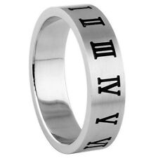 Stainless Steel Roman Numerals Around Matte Shiny Band Stylish Ring Size 6-14