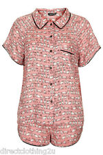 New Topshop LADIES CAT PRINT PJS PYJAMA SET SHIRT TOP SHORT 6-16 PINK